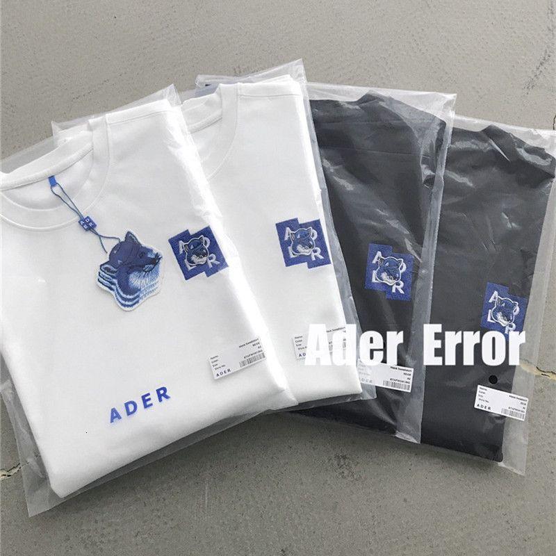 2021 New Fox AderError Вышивка Maison Kitsune Футболка Мужчины Женщины 1: 1 Высокое Качество Алектрическая Ошибка Вышитые T Рубашки Z-Chest Tee Tops XG5L
