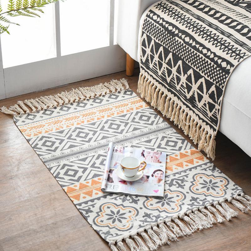 Carpets Retro Carpet Rug Bedside Bedroom Decor Bohemian Hand Woven Floor Mat Cotton Linen For Living Room Decoration Rugs