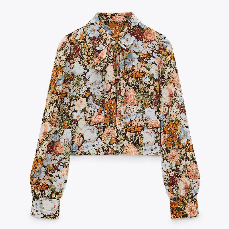 Za mulher manga comprida colhida blusa mulheres vintage vintage imprimir top chic colarinho jóia botão feminino floral short short 210225