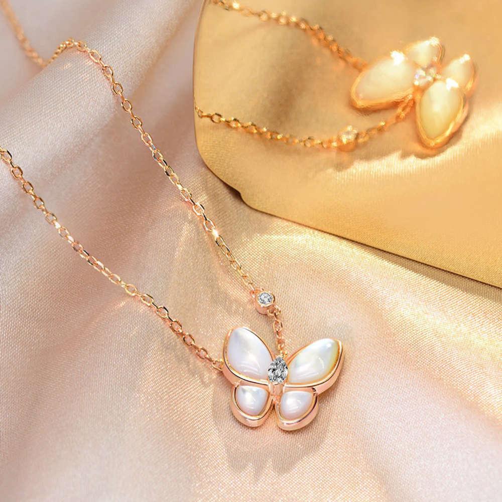 HBP Fashion Luxury New S925 Silber Schmetterlingsserie Halskette mit weißer Mutterschale