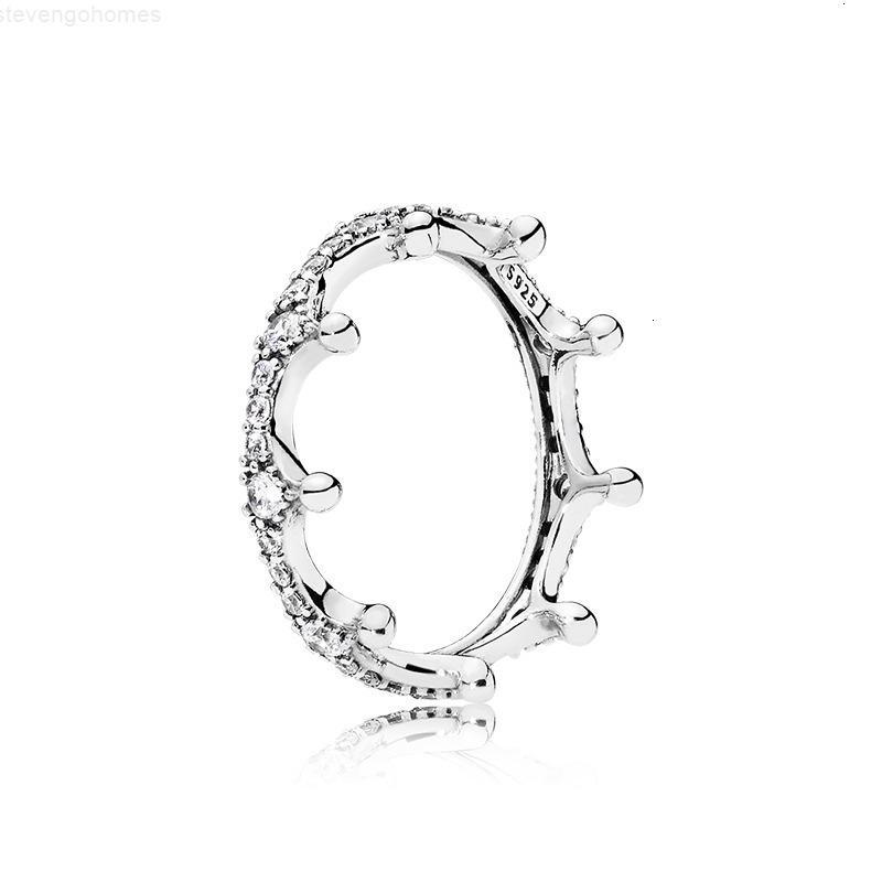 خاتم المرأة التاج 925 كريستال الاسترليني لطيف هدية مربع باندورا فضة مجوهرات الأزياء خواتم الزفاف للبنات