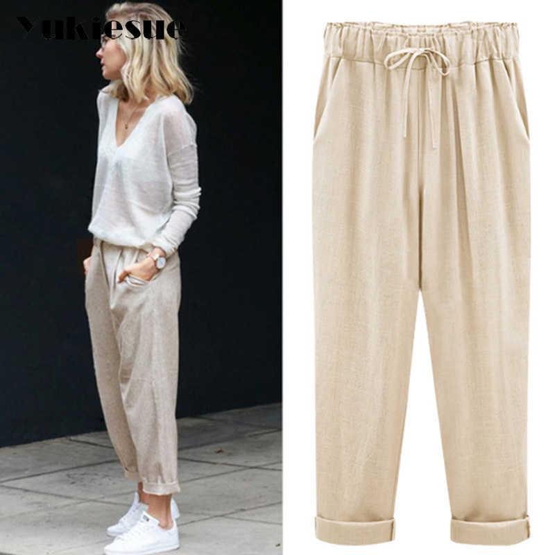 Harem pants capris women summer style high waist loose candy color cotton linen pants female trousers Plus size M-6XL Q0801