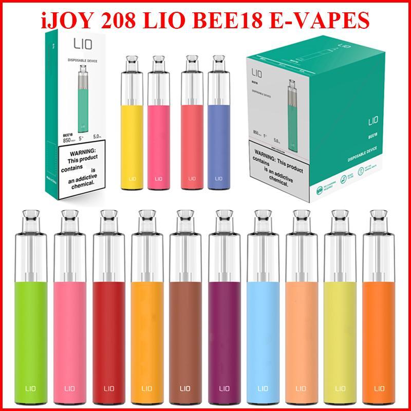 원래 iJoy 208 Lio Bee18 일회용 vape 펜 전자 담배 vapes 1000 퍼프 1000mAh 배터리 5.0ml 포드