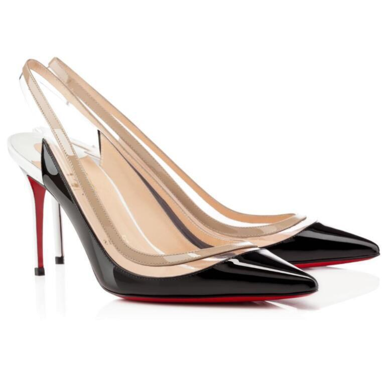 Newst Luxury Paralili PVC 특허 가죽 샌들 뾰족한 발가락 드레스 파티 신발 우아한 붉은 하이킹 펌프 여성 섹시한 레이디 하이힐 EU35-43