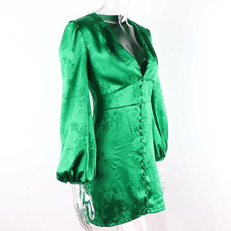 무료 배송 핫 여성의 새틴 드레스 딥 V 넥 슬리브 미니 드레스 섹시한 여성 파티 드레스 클럽 가을