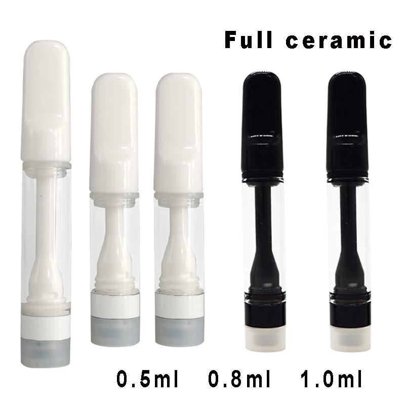 0.8ml Full Ceramic Empty Vapes Cartridges 0.5ml 1.0ml White Vaporizers Once Press on Carts 510 e Cigarettes for Thick Oil 3.0mm Atomizer