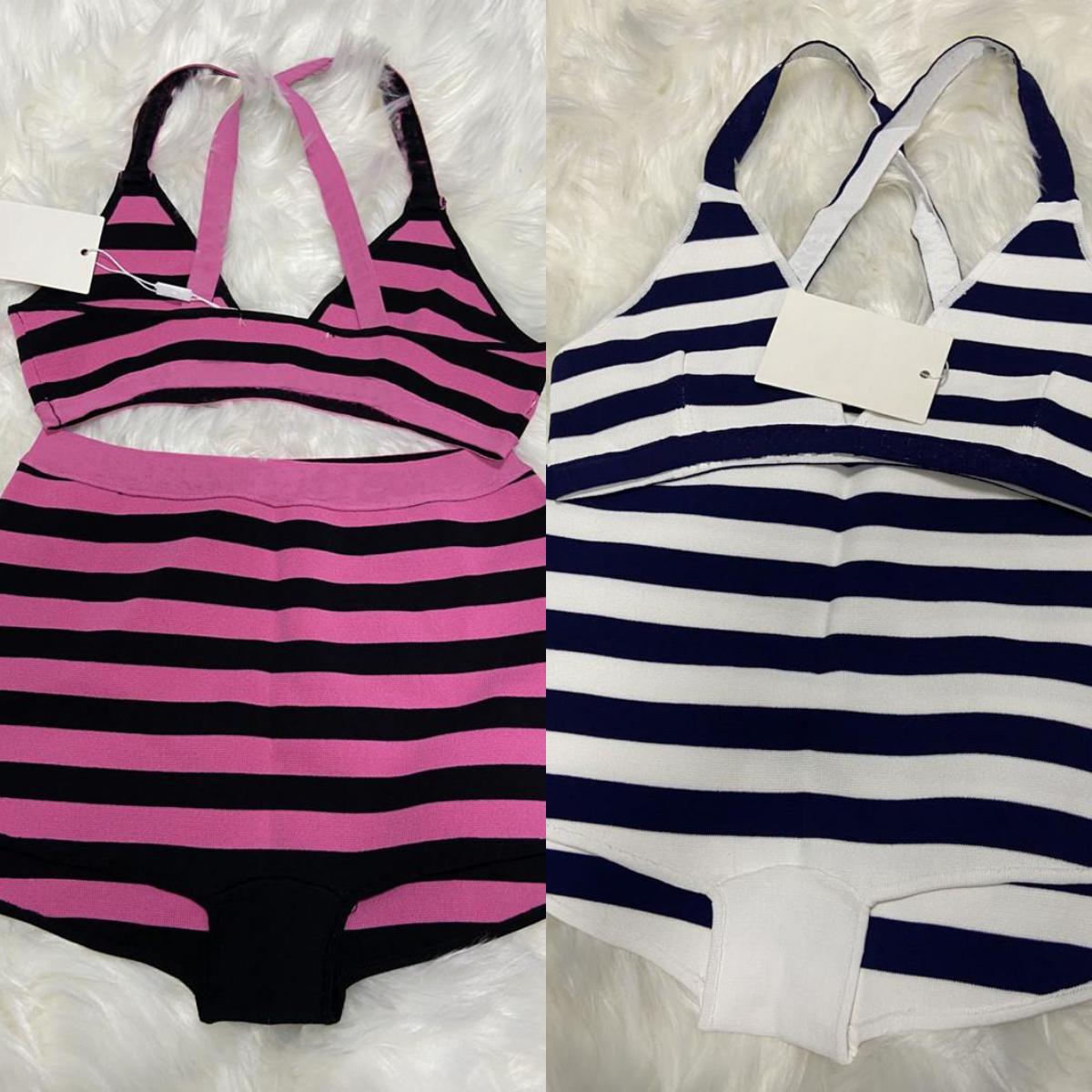 Heißer Verkauf Strickstreifen Badeanzug Bikini Set Frauen Mode Swimwear Badeanzug Bandage Sexy Badewanne Rosa Anzüge Sexy mit Tags bereit zum Schiff