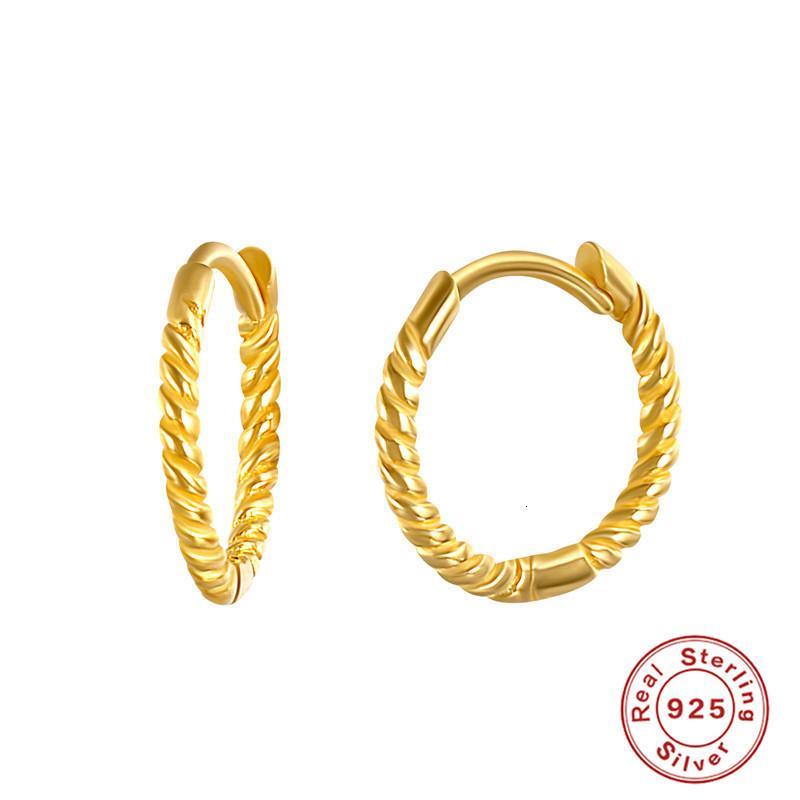 S925 Pure Sier Twist petit anneau Creative Personnalité simple Mahua Chaoren Circle Boucles d'oreilles plaquées or