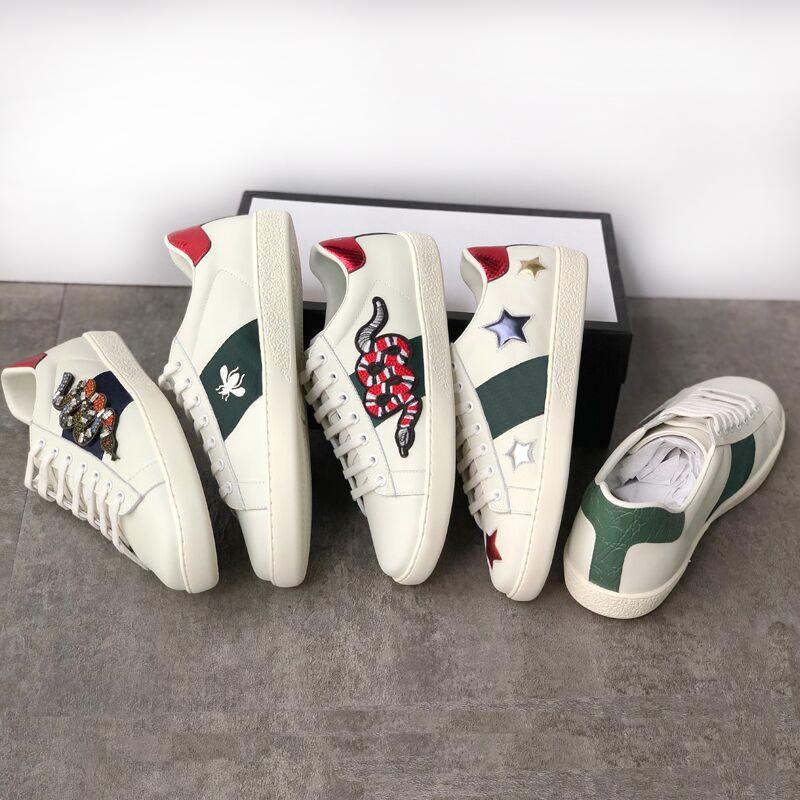 Homens Designers Sapatilhas de Abelha Mulheres Casual Sapatos Brancos Snake Chaussures Treinadores de Couro Tigre Adorei Bordado Listras Sapatos Top Qualidade com Caixa Tamanho 36-45