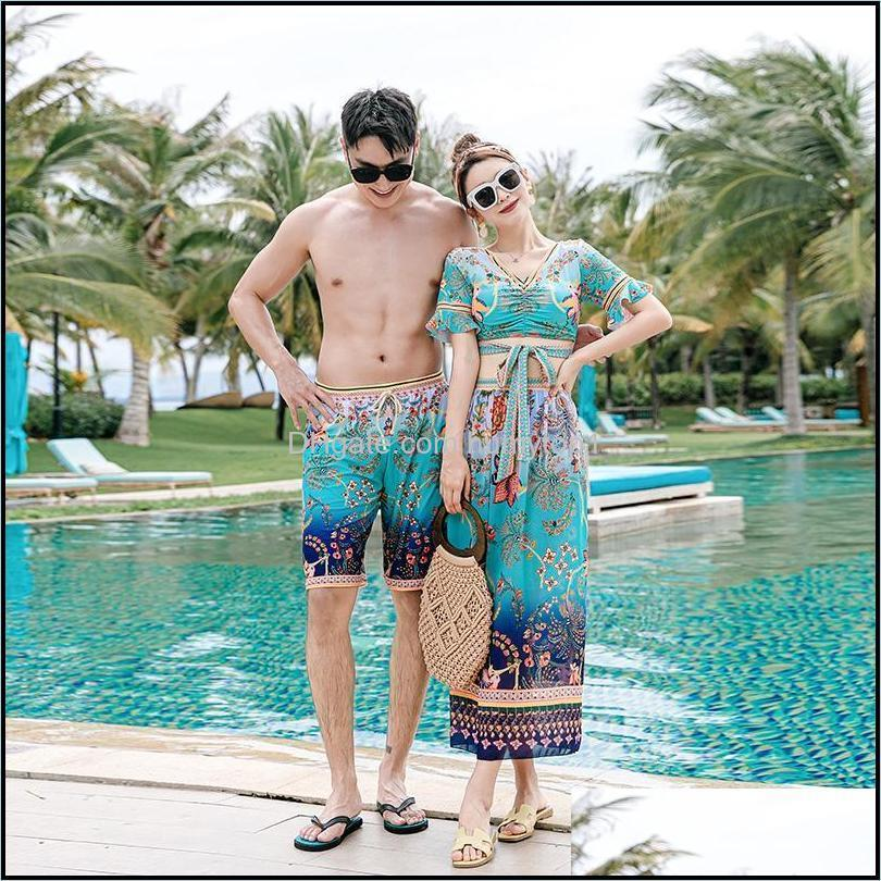 One-Piece Suits Equipment Water Sports & Outdoorsfactory Direct Sale Swimsuit Couple Bikini Men Beach Pants Spring Swimwear Wholesale Drop D