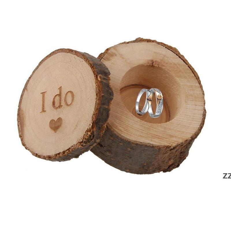 Anillo de bodas de madera natural Caja de portador Wrap Wrap Delicate Anillos personalizados Titular de contenedores para novia Bridegroom HWD10551