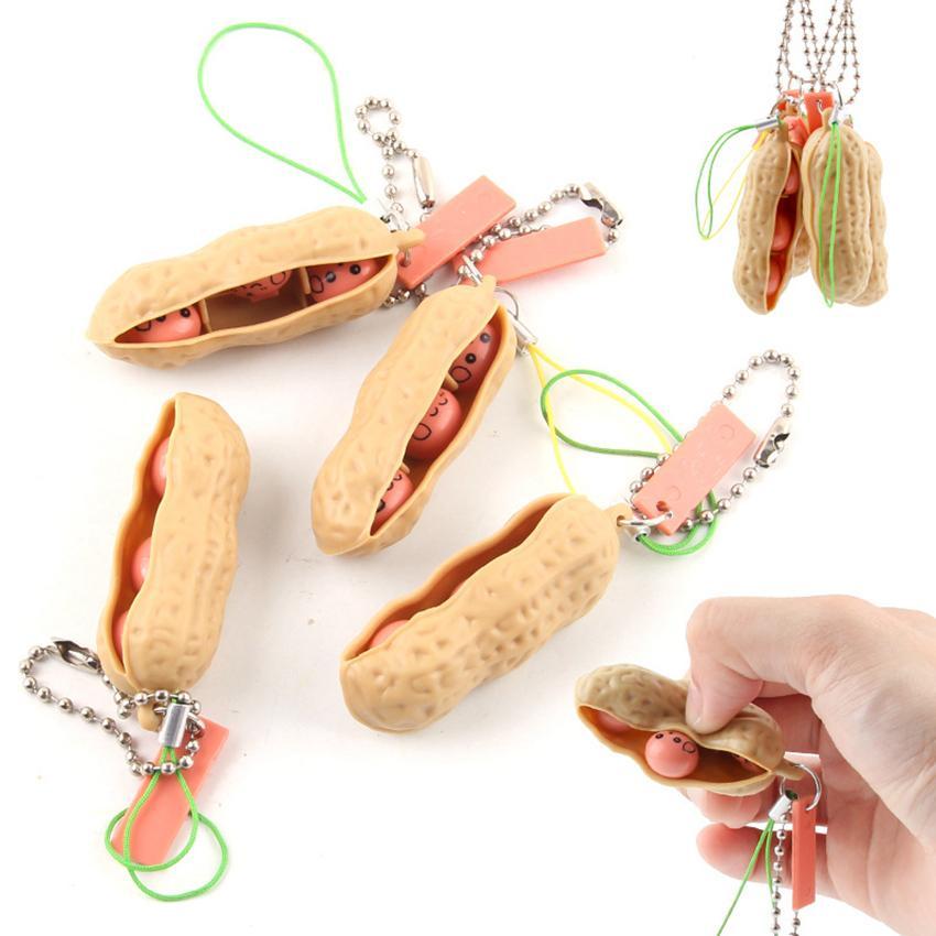 Squeeze Peanut Bean Llavero Fidget Peanuts PeanBean Toy Toy Focus Focus Extrusión Pea Colgante Anti-Ansiedad Alivio de Estrés Discompression Lla833