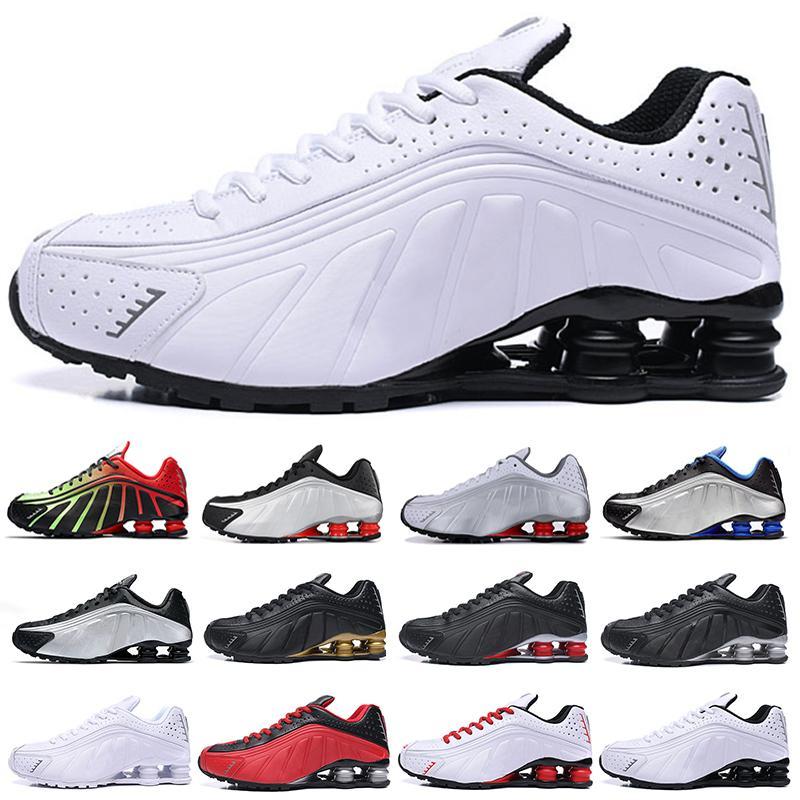En Kaliteli Koşu Ayakkabıları Metalik Renk Sunulan R4 Erkek Chaussures Oz NZ 301 Spor Tasarımcısı Sneakers Siyah Beyaz Arttırılmış Yastık Zapatillas 40-46