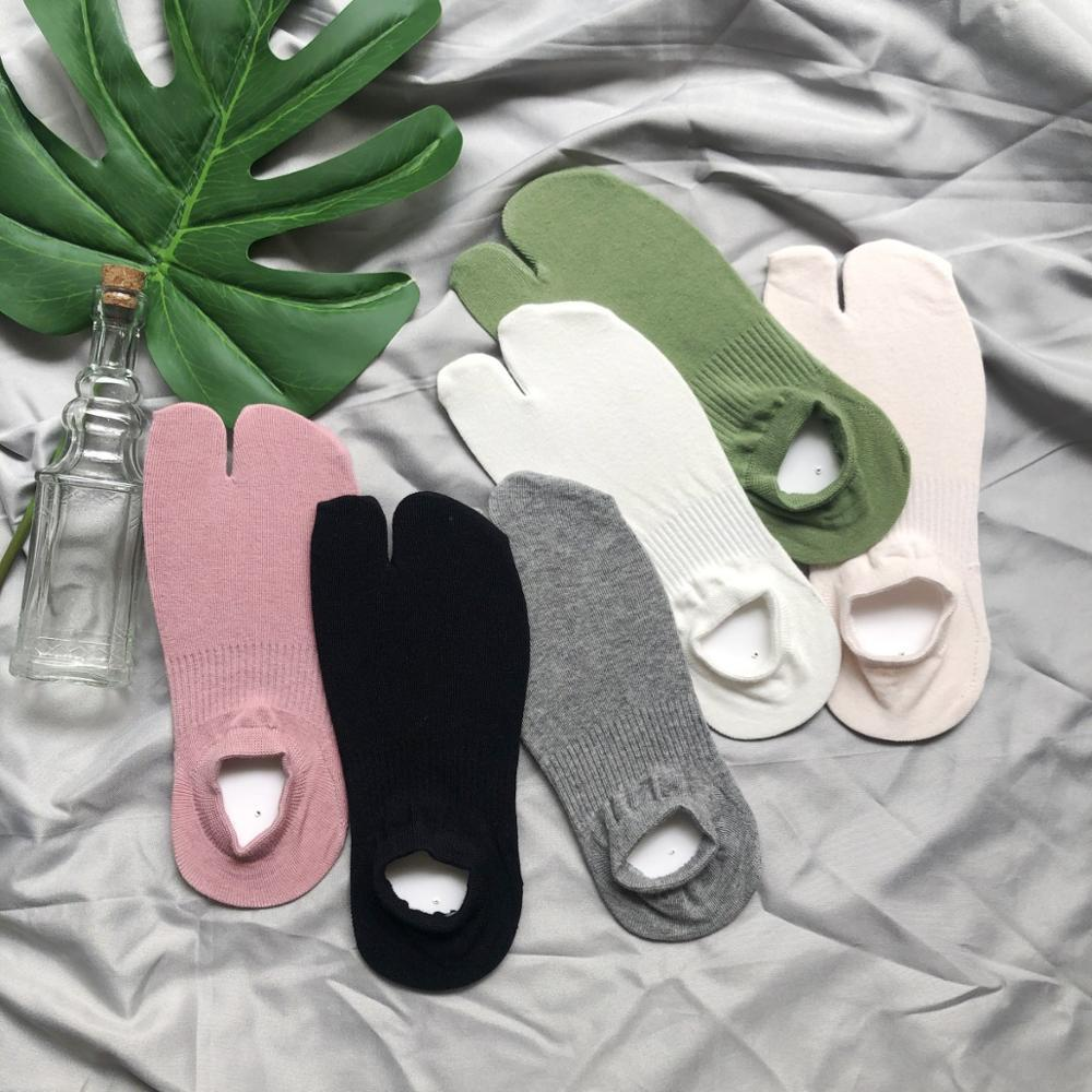Summer Combed Cotton Couple Tabi Socks Solid Comfortable Breathable Two Toe Socks Women Men Non-slip Invisible Low Cut Boat