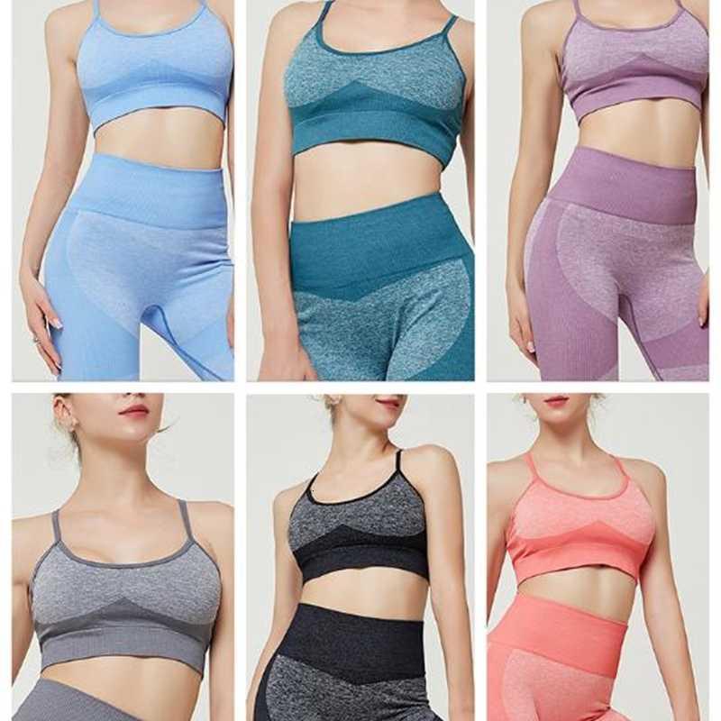Altas mujeres de color transparente yoga conjunto de fitness ropa deportiva cintura gimnasia leggings medias acolchado push-up deportes sostén 2 piezas deportes trajes deportivos