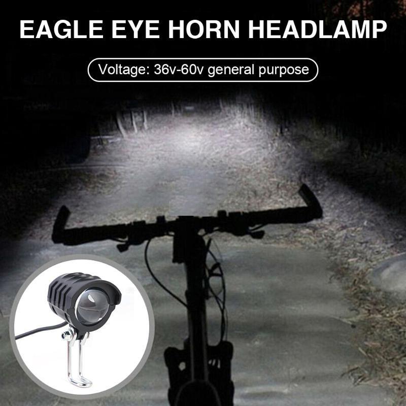 Electric Bike LED Front Light E-Bike Bicycle 2 in 1 Waterproof Horn Headlight Biking PortableDustproof Cycling Parts