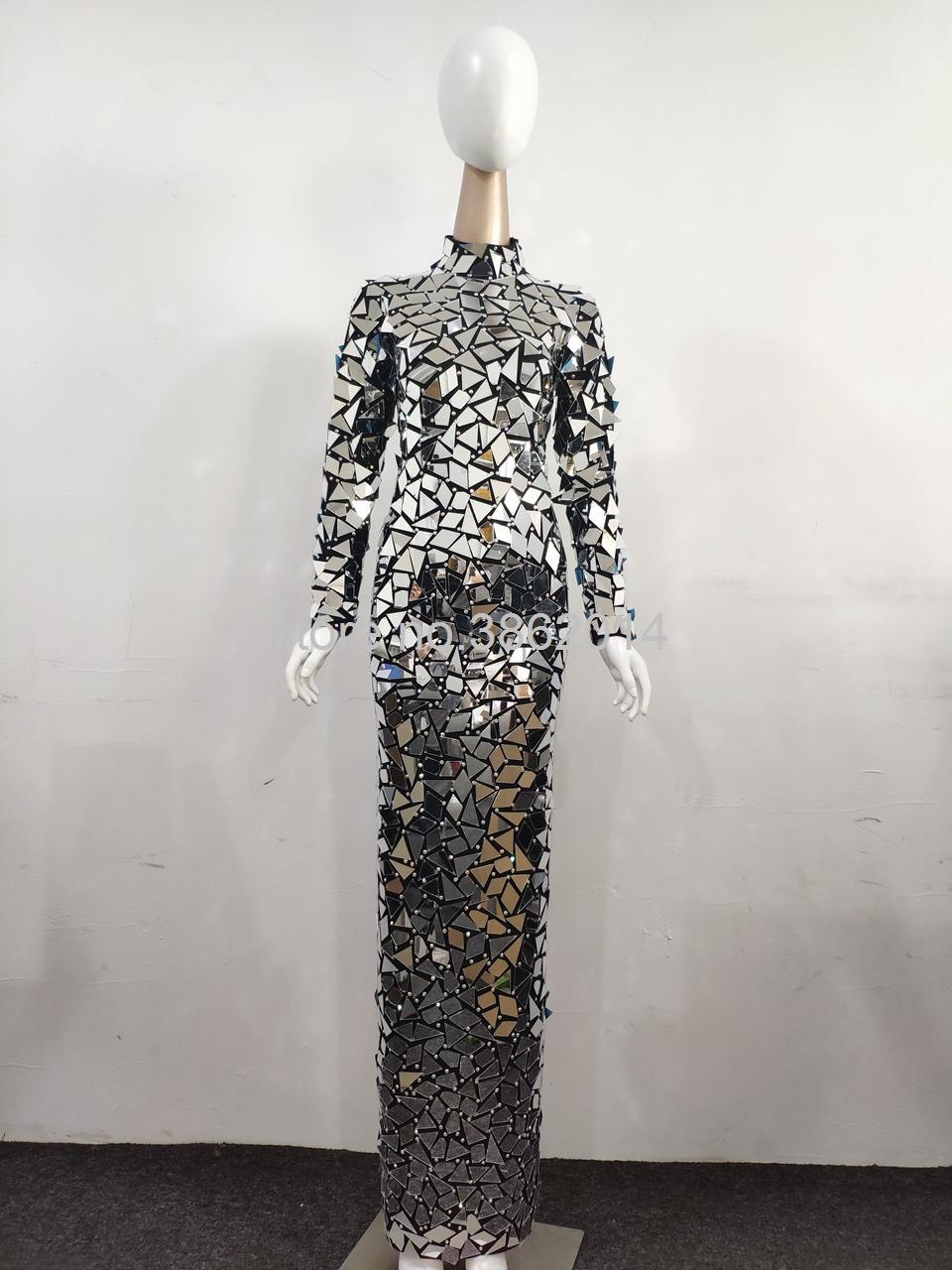 Новый дизайн Bling полные зеркала горный хрусталь длинное платье женщин вечером день рождения выпускного вечера праздновать вечеринку хвостовое платье черный сценический костюм