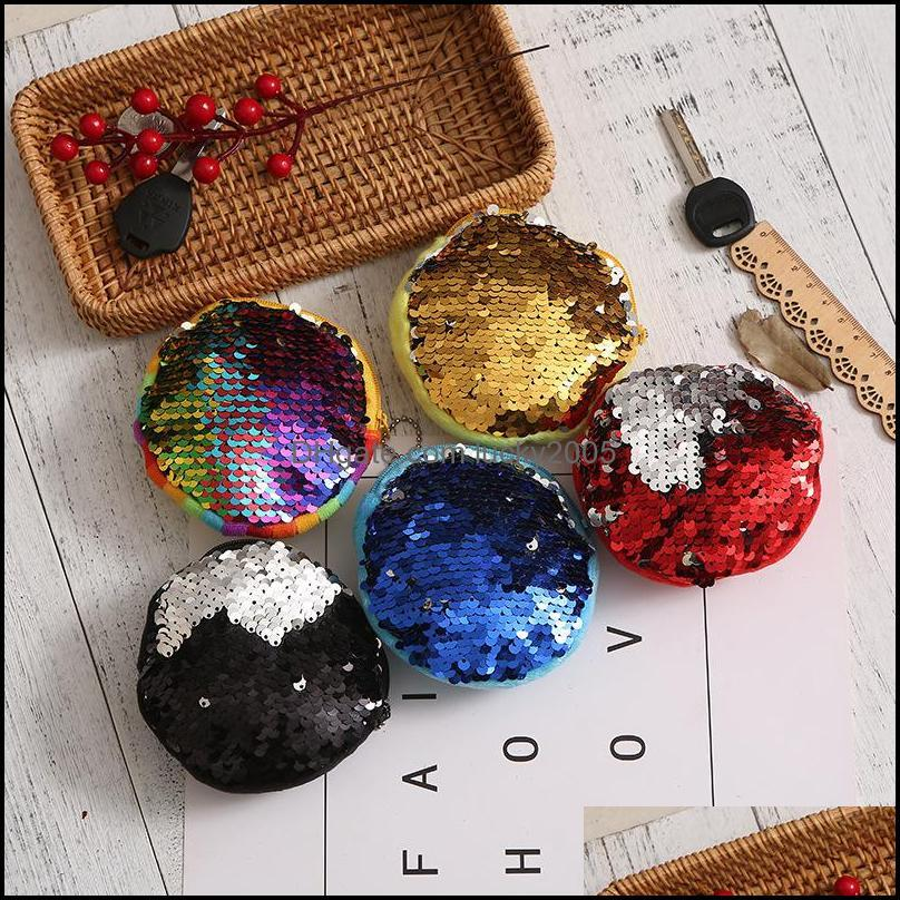 Bags Housekee Organization Home & Garden Mermaid Sequin Purse Mini Storage Key Ring Round Plush Coin Students Headphone Bag Drop Delivery 20