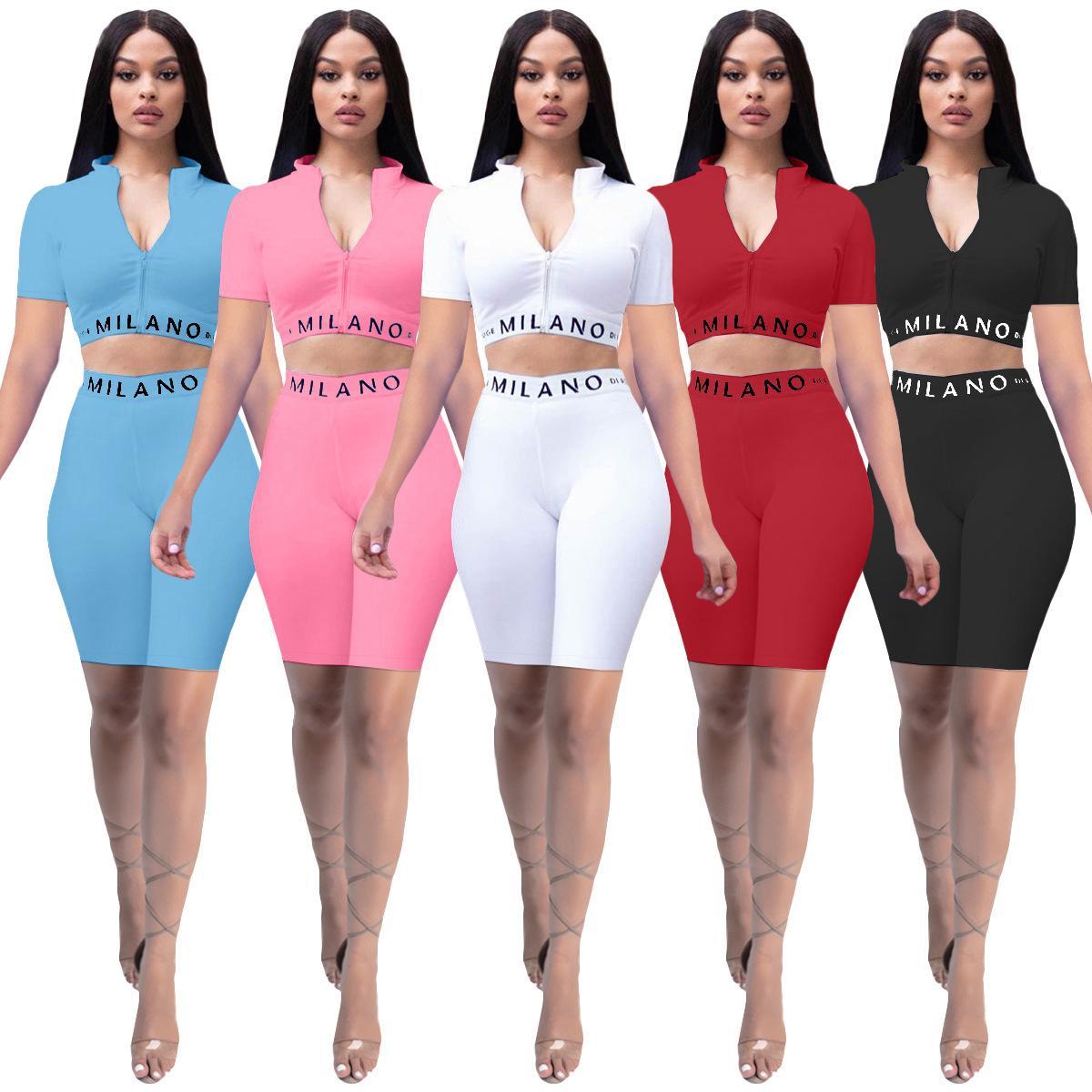 Nouveau costume à manches courtes Sexy Womens 2021 Mode d'été Couleur pure Couleur Slim Slim Lettre imprimé à manches courtes Yoga Two Piece Sports costume 5 couleurs