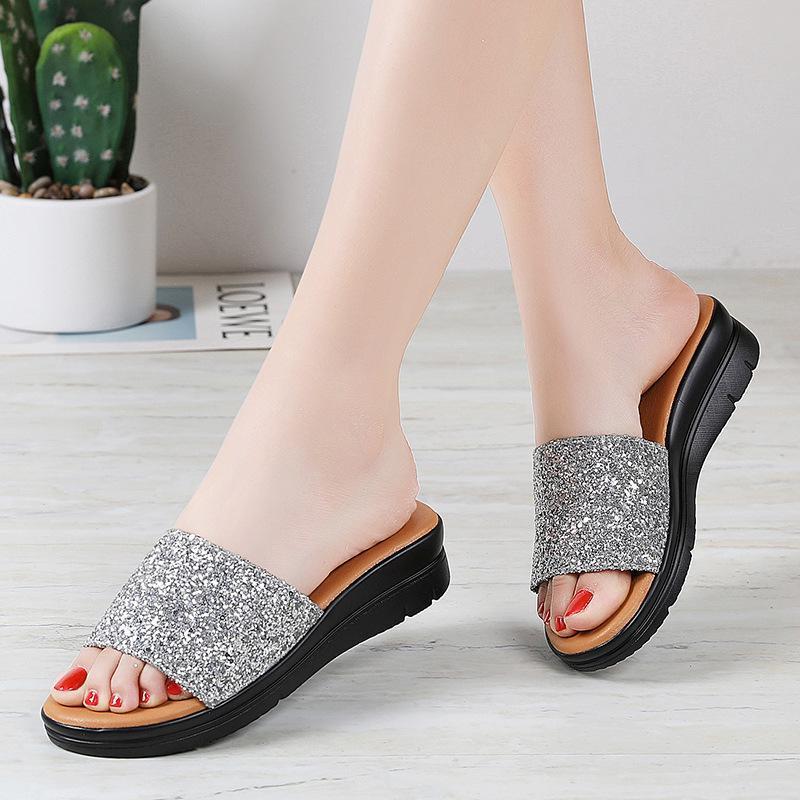 4cm Heels Hausschuhe Pailletten Pailletten Paillette Glitter Frauen Damen Dame Frau Frau Sommer Schuhe Schuhe Bling Plus Größe 35-42