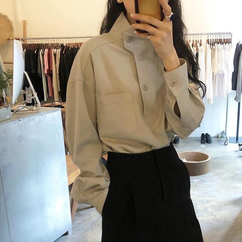 Весна осень длинные рукава топы женщин повседневная рубашка отворота мода блузка топы блузки 210311