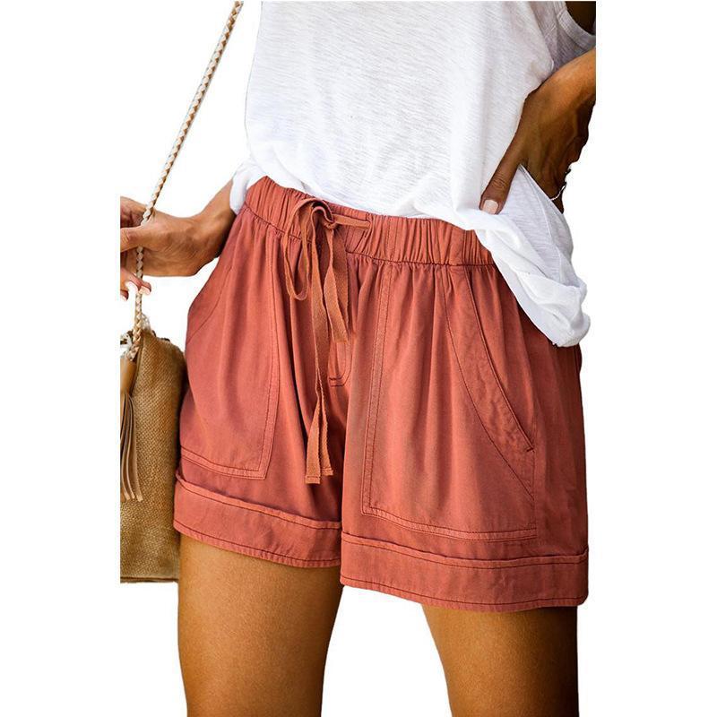 2021 Женский короткий летний свободные веревочные галстуки короткие спортивные шорты случайные эластичные талии льняные шорты розовый карманный пляж