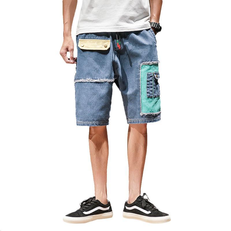 Neue 2021 Sommer Patchwork Jeans Multi-Pocket Casual Hip Hop Männer Kurze Hosen Streetwear Herren Militär Cargo Shorts EBP5 1UWF