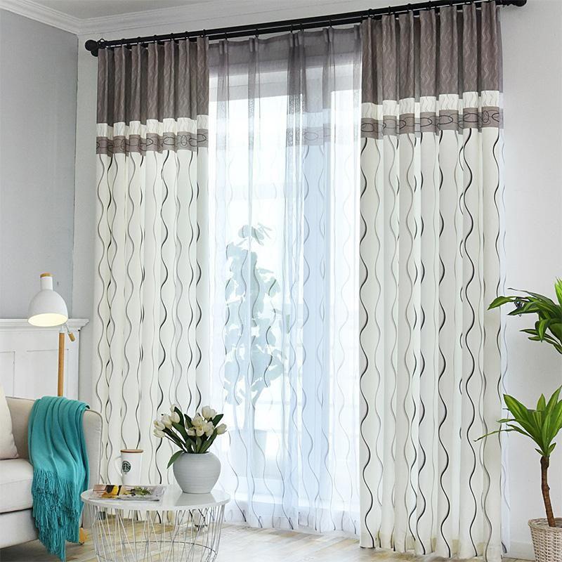 Cortina cortinas listradas jacquard semi-blackout cortinas para sala de estar cinza branco costura em relevo porta deslizante
