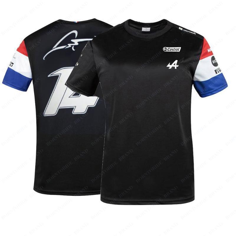 سباق جاكيتات جبال جبال الألب F1 فريق رياضة رياضة تي شيرت أزرق أسود البضائع جيرسي تنظيم ملابس قصيرة الأكمام قميص