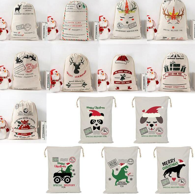 Weihnachtstaschen Baumwolle Leinwand Kinder Süßigkeiten Geschenk Tasche Santa Claus Hirsch Säcke Leinwand Kordelzug Bag Weihnachten Baumwolle Geschenk Lagerung Dekoration