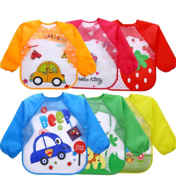 아기 유아 만화 바지 방수 긴 소매 턱받이 어린이 아이들이 먹는 일복 앞치마 먹는 옷 버프 옷감 SN3799