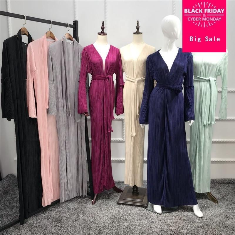 Muslim Adulte Mode Plissé Robe Musulmane Turc Dubai Haut-parleur Sleeve Abaya Muslim Robe Arabe Service WJ2513 Vente en gros