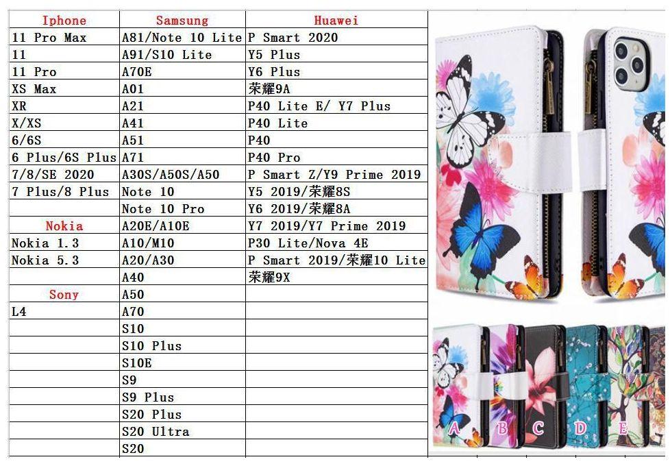 Casos de carteira de couro multifuncional para Samsung Nota 20 A21s A11 A31 S20 Ultra S10 A81 A91 A70 A01 A21 Flower Butterfly Zipper Id Flip Capa