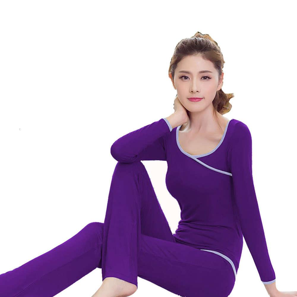Modal women's autumn and winter long sleeve show thin large size pure cotton mother knickers tracksuit