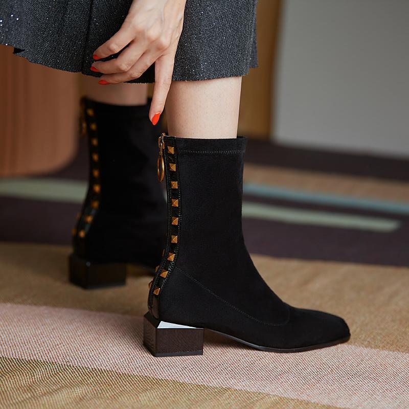 Женские ботинки британский стиль корова замшевые натяжные сапоги повседневная мода внутренняя кожаная европейская американская американка все спички обувь для женщин