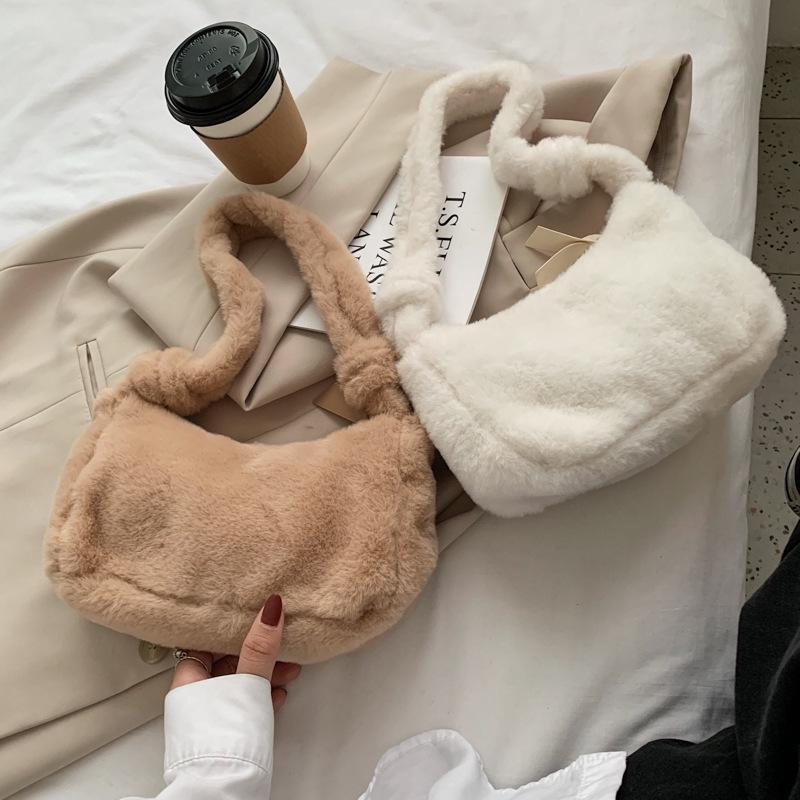 2021 Fashionable plush bag women's winter new bag pure color shoulde fresh lovely bag 11xy R2