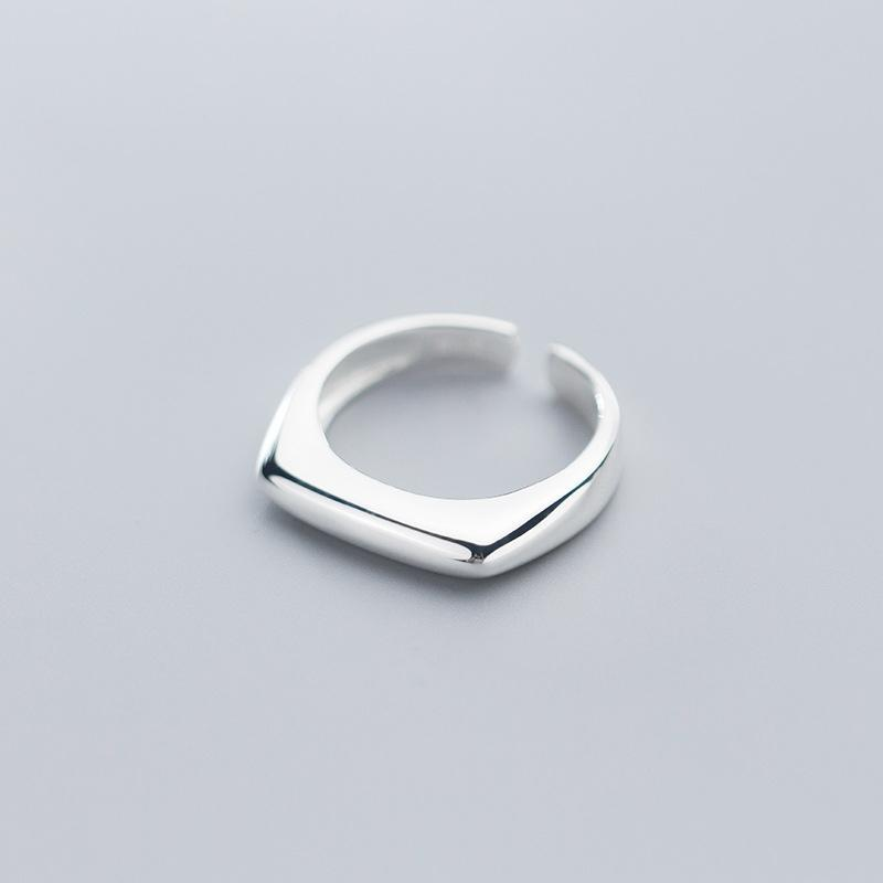 Cluster Rings 925 Solid Sterling Silver Fashion Korean Smooth Geometric Ring Adjustable Size For Women Girls Lady Jewelry Gift