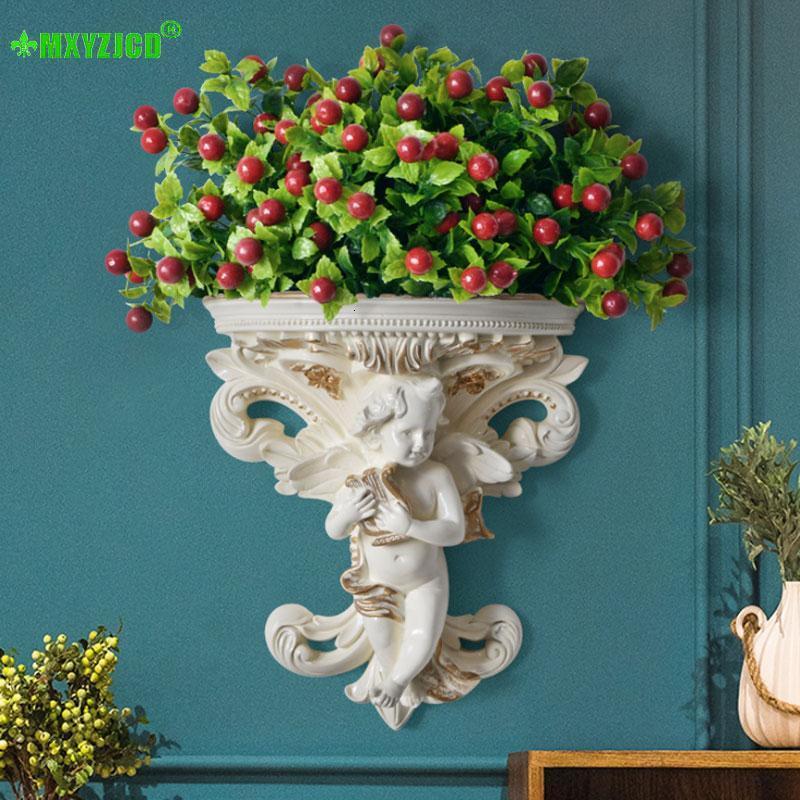 Personagem de vaso de flor de resina de anjo de parede tocando violino escultura Arranjo de flores recipiente decoração de casa acessórios