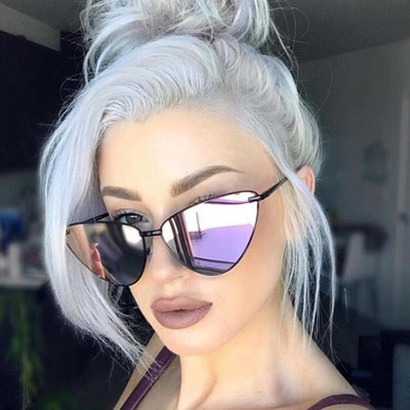 Солнцезащитные очки 2021 Мода Женщины Цвет Роскошные Плоские Топ Кошка Глаз Фиолетовый Элегантные Негабаритные Солнцезащитные Очки для UV400