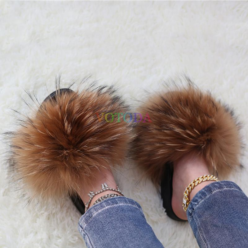 Fur Slides Summer Women Furry Slippers Real Raccoon Fur Slippers Woman Outdoor Flat Sandal Fashion Casual Female Fluffy Shoe