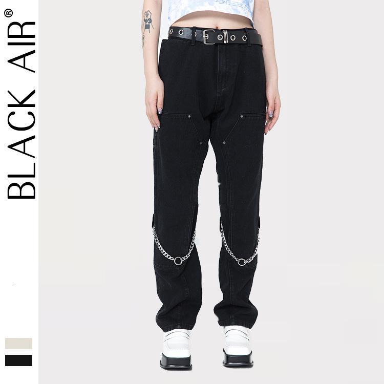 Blackair Sokak Yüksek Sokak Düz Yüksek Bel Kot Zincir Ulusal Moda Aksesuarları Casual Erkek ve Kadın Pantolon