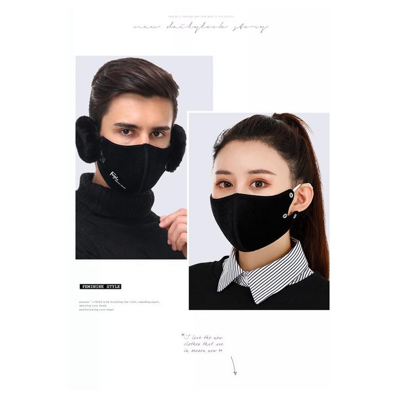 1 6 colores 2 en la boca unisex mufla moda orejeras máscaras a prueba de polvo mascarilla de cara al aire libre invierno caliente a prueba de viento media mascarilla yy