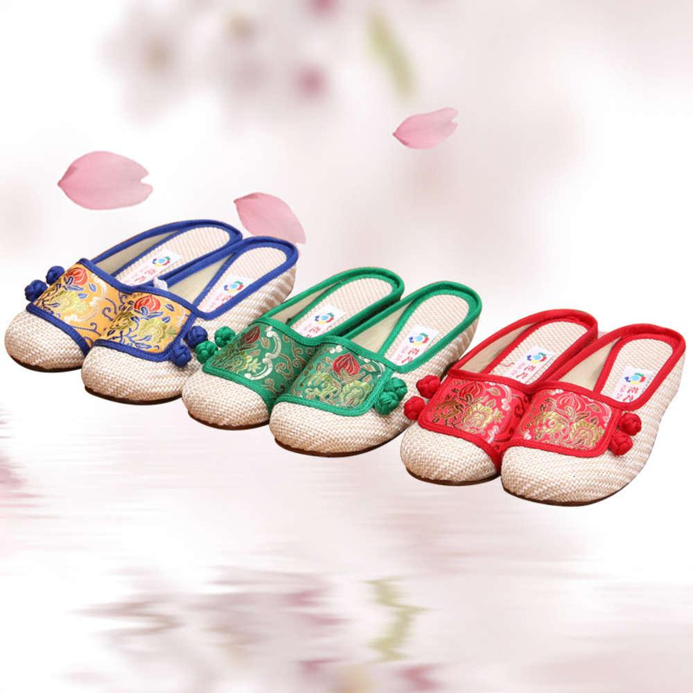 Eski Pekin bez kadın sandalet Ulusal tarzı saten tek ayakkabı düz