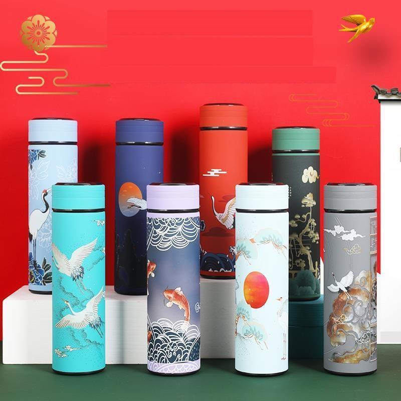 500 ml Akıllı termos sıcaklık ekran akıllı su şişesi paslanmaz çelik Çin desen tarzı seyahat kahve termos dwa3647