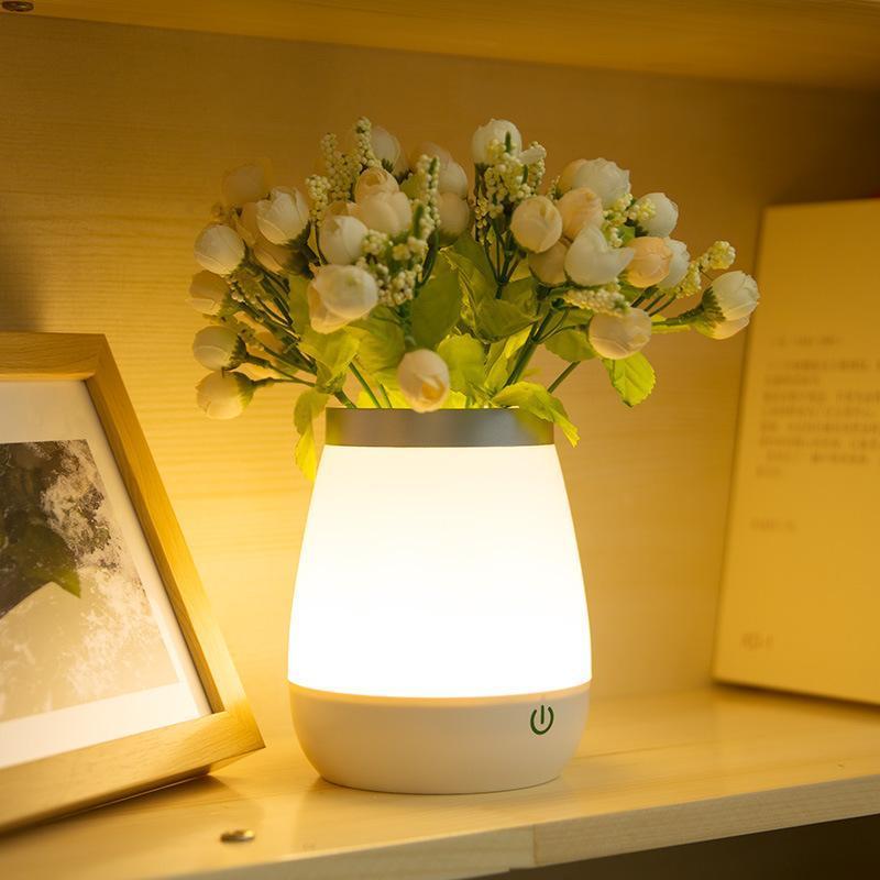 Vase Table Lamp Bedside LED Night Light Modern Flower Holder Children's Warm Led USB Table Lamp For Living Room Decoration Gifts