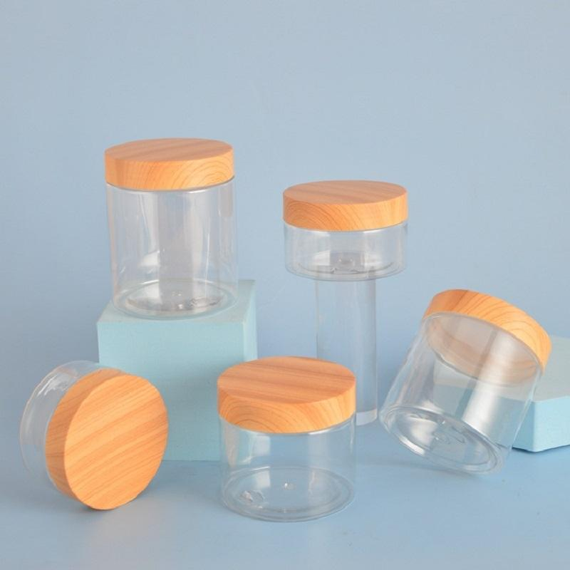 30ml~120ml PET plastic cream bottle, wide mouth bottle with wood grain plastic lid, skin care product packaging material