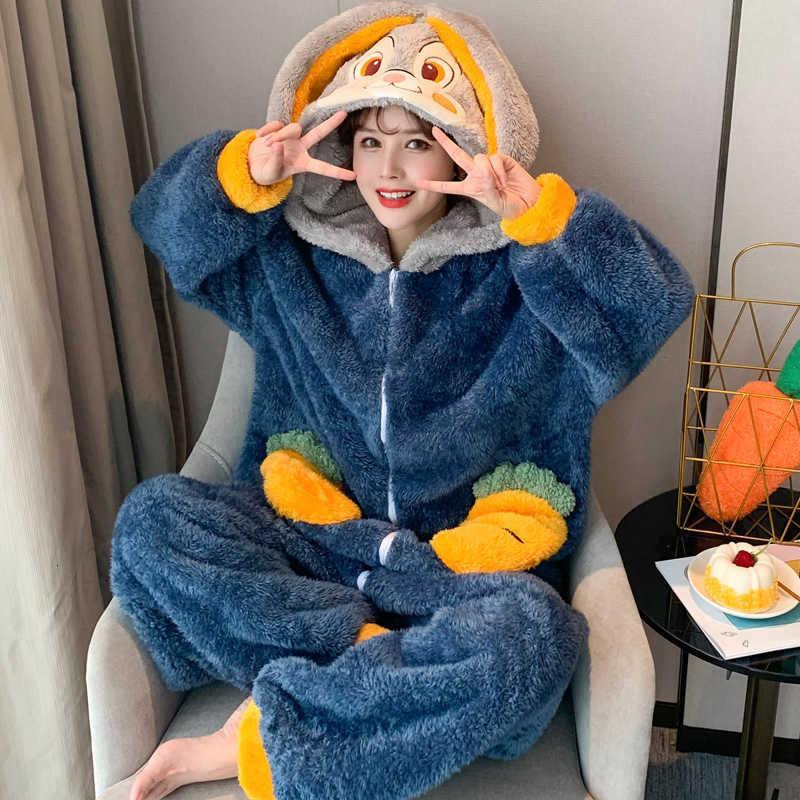 Felpa invierno pijamas moda hogar ropa de dormir mujer de dibujos animados con capucha coral vidente camisón talla grande franela nighty agregar vellón