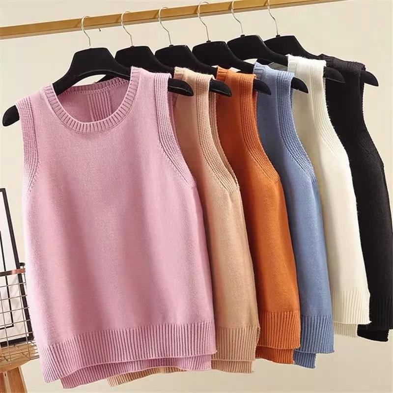 2021 Automne hiver nouveau gilet coréen coréen style de style tricoté de gilet de gilet corétrique solide goulouillis o-cou sans manches tops