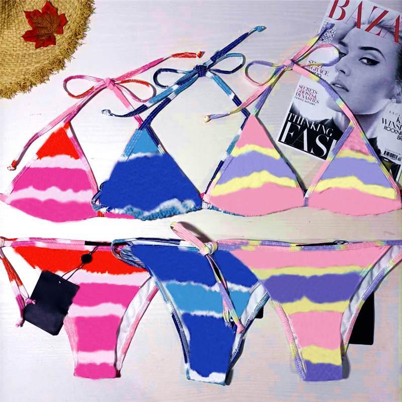 다채로운 편지 인쇄 여성 수영복 섹시한 백리스 푸시 위로 womens 수영복 여름 해변 숙 녀 수영 Bikinis 세트