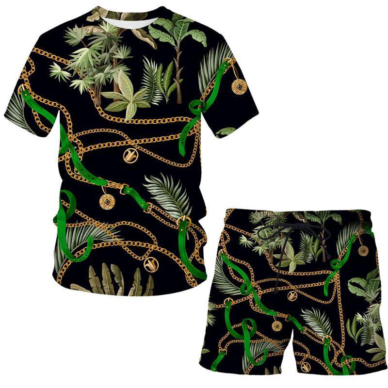 Herren Trainingsanzüge 2021 Eisenkette Mode Sommer Anzug Mann / Frau Kurzarm Printed 3D Luxus Hip Hop T-Shirt Top + Shorts Kinder